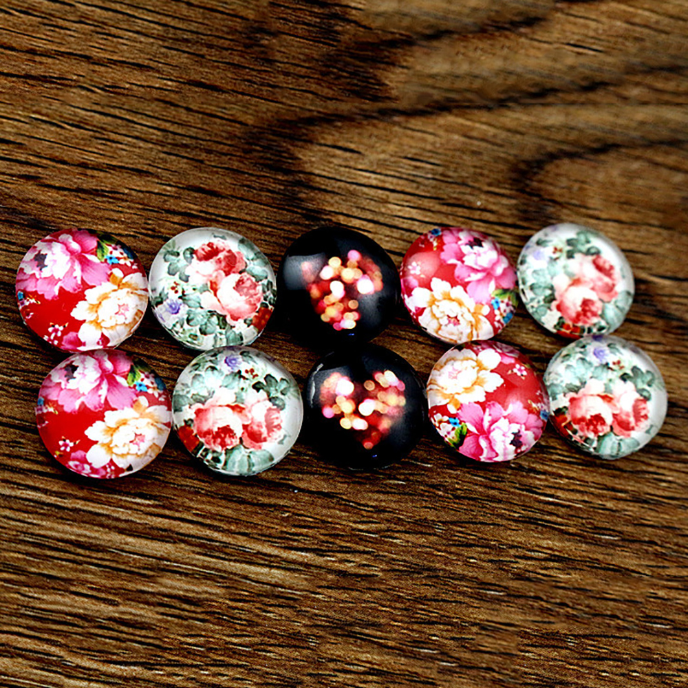 10pcs/lot (One Set) Fit 12mm Cat Flower Handmade Glass Cabochons Pattern Domed Jewelry Accessories Supplie-C4-18