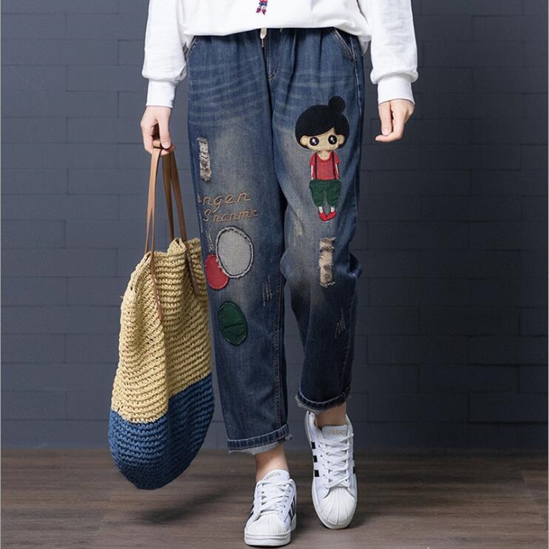 Cute Ripped Jeans For Women 2020 Fall Fashion Casual Denim Pants Loose Patchwork Cartoon Pattern Jean Trousers Female Streetwear