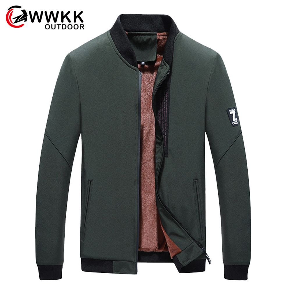 WWKK Men's Cold Protection Standing Collar Men Plus Velvet Solid Color Jacket Keep Warm Coat Streetwear Jackets Male New Fashion