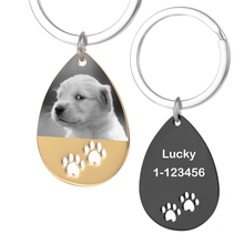 Keychains Keepsake Customized Gifts Water-Drop-Pendant Dog Stainless-Steel Photo