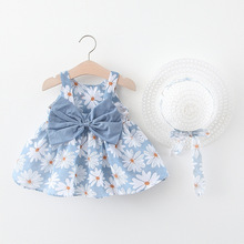 [aamina]flower baby tutu kids dresses for girls wholesale children clothing 2017 girls winter dresses 5pcs lot 1312 2 6 years Baby Clothing Baby Girls Dresses Cotton Summer New Kids Dress Bowknot Floral Princess Tutu Dresses 0-2 Years with Hat