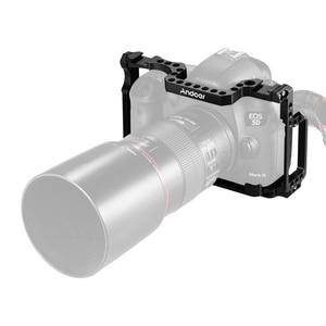 Image 3 - Andoer מצלמה כלוב אלומיניום סגסוגת עם 1/4 אינץ + 3/8 אינץ בורג חורים כפול קר נעל הר עבור Canon 5DS 5DR 5D סימן IV/III/II