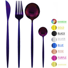 Couverts en acier inoxydable, service de table violet, service de table, service de couverts en acier inoxydable, couteau, fourchette, cuillère à café, service d'argenterie pour la maison