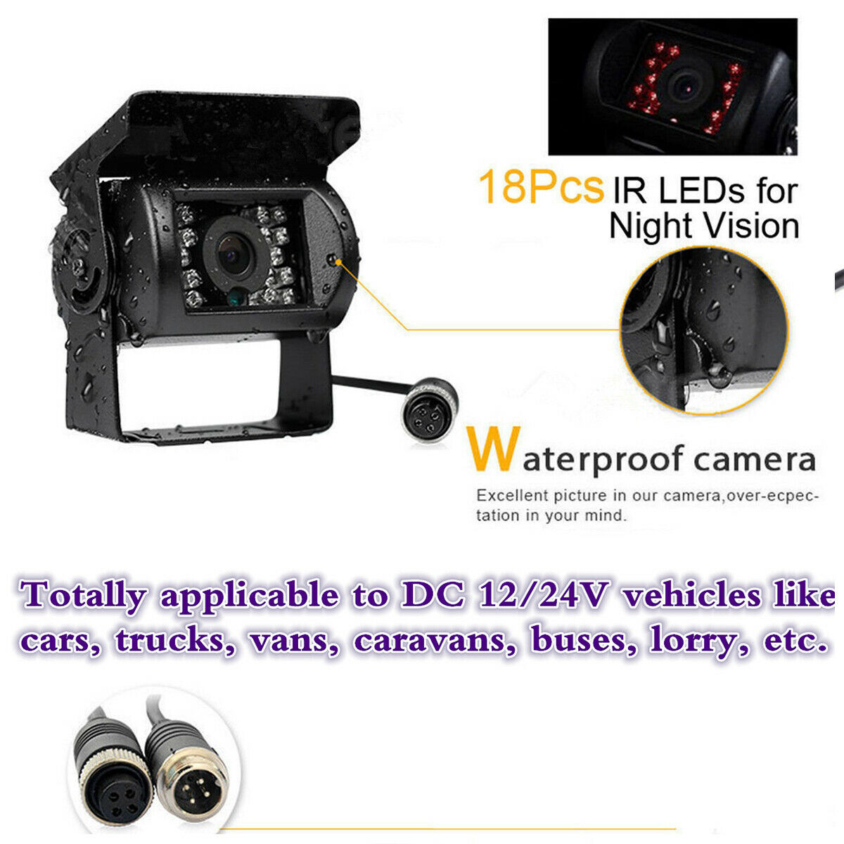 Truck camera  Rear view CCD Camera Night Vision IR LED for Bus,truck camera