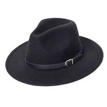 Черная шляпа федора фетровая женская мужская шляпа джазовая модные шляпка женская шапка осенняя зимний женские шляпы