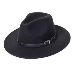 Jazz Hat Fedora-Hat Chapeau-Sombrero Imitation-Woolen Black Fashion Women Winter Top