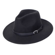 Fedora Hat Men Women Imitation Woolen Winter Women Felt Hats Men Fashion Black T