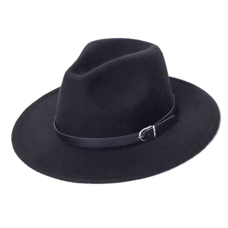 Fedora Hat Men Women Imitation Woolen Winter Women Felt Hats Men Fashion Black Top Jazz Hat Fedoras Chapeau Sombrero Mujer 2019