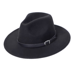 Jazz Hat Fedora-Hat Chapeau-Sombrero Imitation-Woolen Black Winter Fashion Women Top