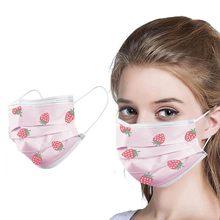 10/50/100pcs Mulheres Máscaras Descartáveis 3 Camada Anti-Poluição Da poeira Tecido Meltblown Máscaras À Prova de Poeira impressão morango Máscara # M2
