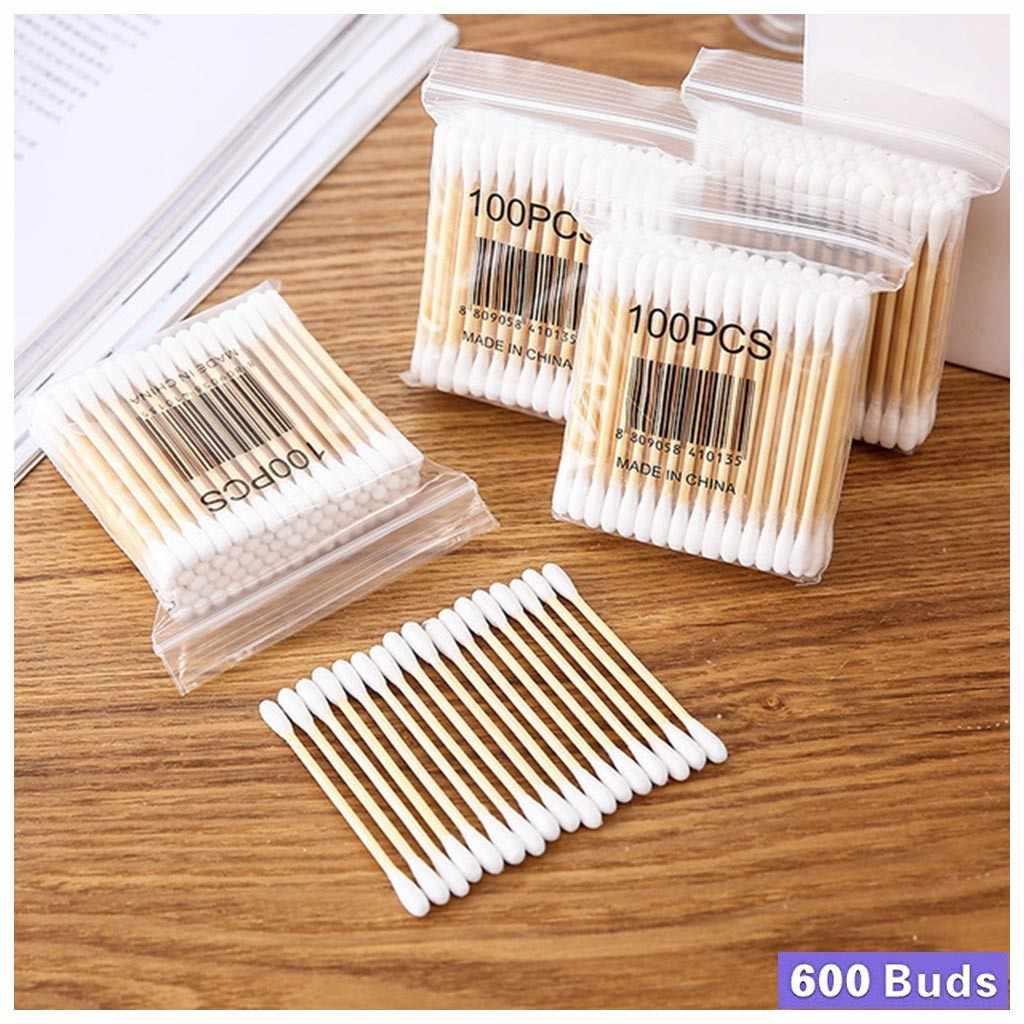 6 paczek 600 sztuk wacik urządzenia do oczyszczania drewna zdrowie medyczne ucha biżuteria czyste kije pąki porada drewno bawełna podwójna głowica wacik