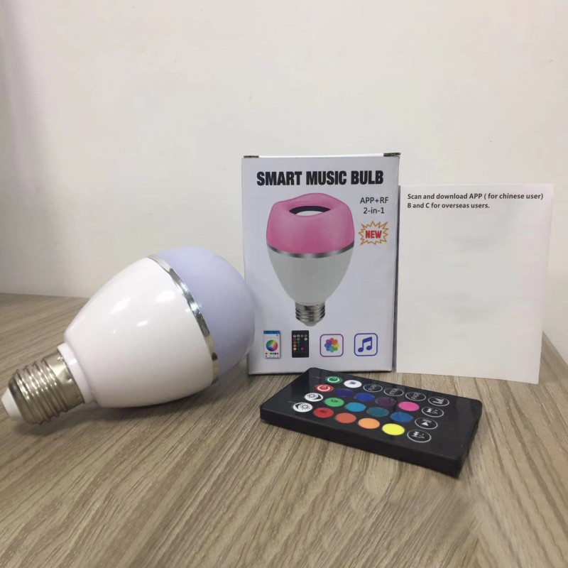 LED Wireless Light Speaker RGB Smart Music Bulb E26 Base Color Changing With Remote Control Decorations - 4