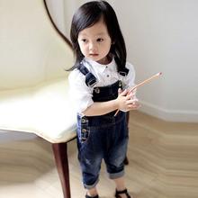 Duże PP dla dzieci chusta do noszenia spodnie jeansowe Sling dziewczyny dla dzieci spodnie dla dzieci dziewczynek dżinsy chłopców i dziewcząt kombinezon dżinsy spodnie na szelkach tanie tanio Changing Destiny COTTON Poliester Proste Stałe 226101 Sznurek Pasuje prawda na wymiar weź swój normalny rozmiar