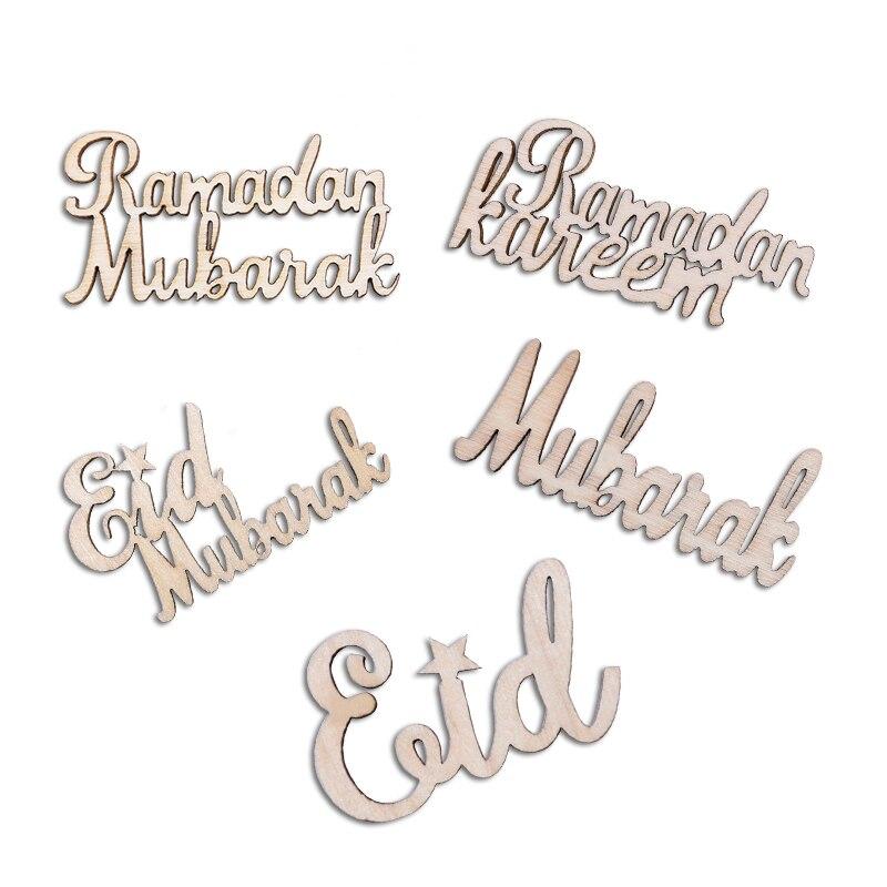 Image 5 - 15/30/60pcs Eid Mubarak DIY Wood Chips Props Home Iftar Party  Deco  Supplies Muslim Eid Mubarak Ramadan Wooden Alphabet OrnamentParty  DIY Decorations