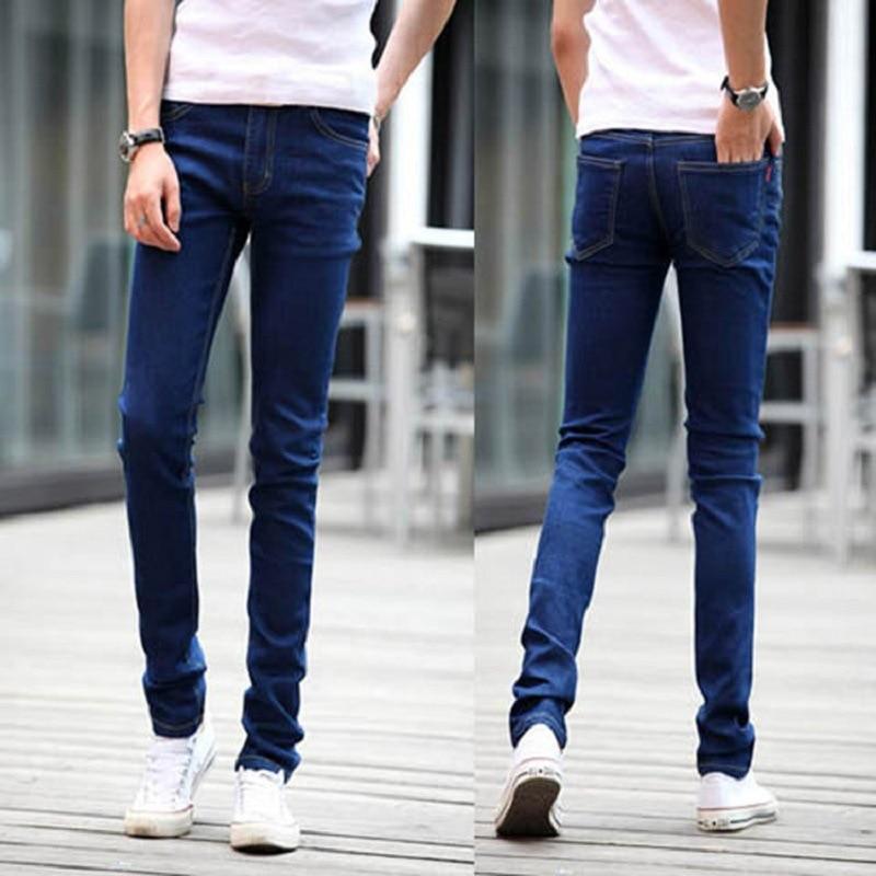 Summer Thin Section Elasticity MEN'S Jeans Korean-style Trend Blue Trousers Slim Fit Pants Casual Straight-Cut Pants Men's