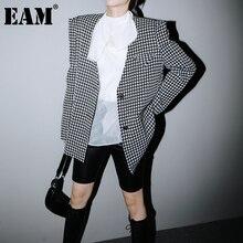 Long-Sleeve Blazer Fit-Jacket Spring Plaid-Shaped Black Fashion Women New Autumn EAM