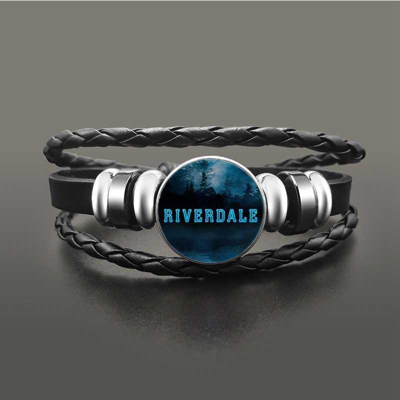 TV Riverdale South Side węże czarna skórzana bransoletka Jeweley szklana kopuła przycisk zatrzaski bransoletki Punk nadgarstek akcesoria