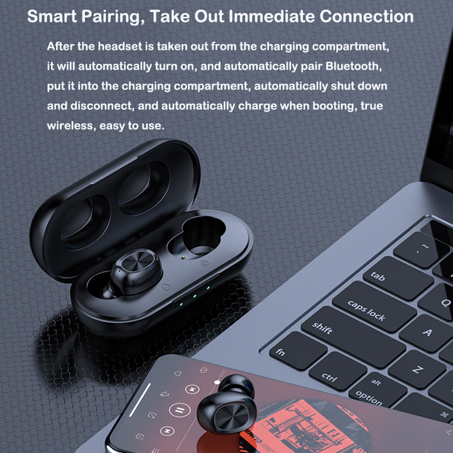 TWS Bluetooth Earphones Streo Wireless Earbuds with Wireless Charging Case 3D Stereo Sound IPX5 Waterproof Whit Charging Box 3