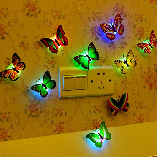 צבע שינוי חמוד פרפר LED לילה אור בית חדר שולחן קיר דקור חמוד חדר תפאורה קיר מדבקות обои