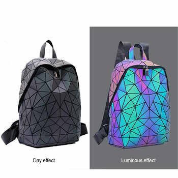 Brand Design Luminous Backpack Sequin women Backpack set for girl chain shoulder bag School Female Backbag Folding purse set