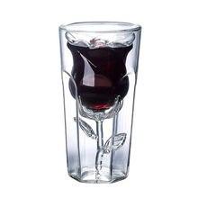 2 pçs rosa forma dupla parede copa gafas vetro bilayer copo de vinho cocktail aleta licor vaso casa barra amante presente natal