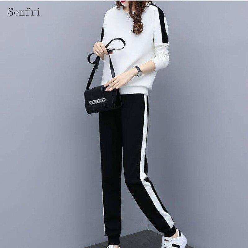 Semfri Sports Suit Female 2020 Spring Autumn Hoodies Two Piece Set Women Korean Version Harajuku Stitching Tracksuit