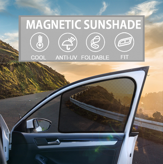 $ 36 2PCS Magnetic Car Front Side Window SunShades Mesh Cover For Ford Escort Mondeo Edge Explorer Ecosport 2013-2018