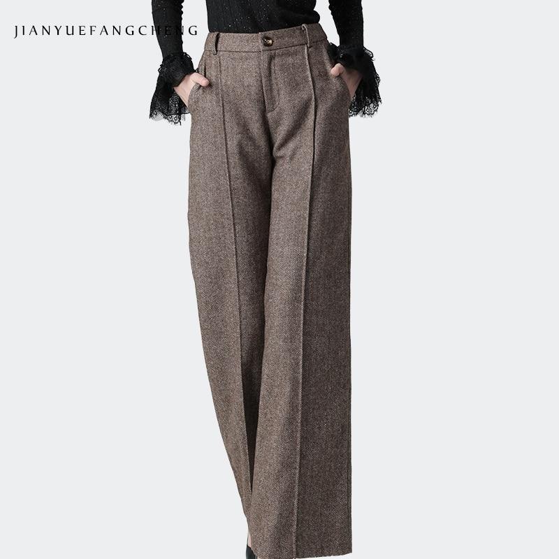 Fashion Wool Wide Leg Pants Women High Waist Straight Casual Brown Long Pants Warm Thicken Winter Trousers Plus Size Street Wear