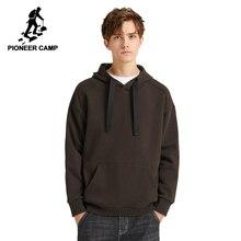 パイオニアキャンプ多色固体パーカー男性ストリートフード付き 100% 綿黒茶色、黄色、白因果トレーナー男性AWY908094