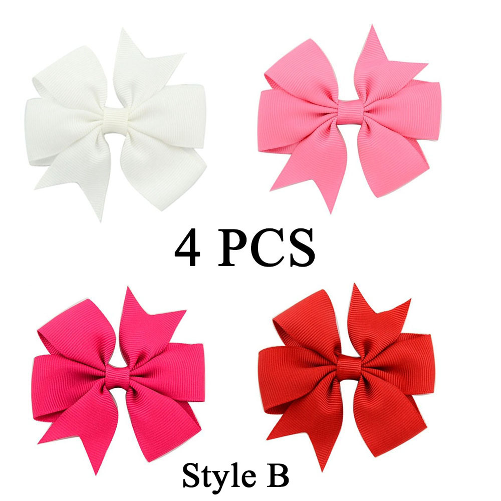 4PCS/Set Colorful Ribbon Grosgrain Hair Clip Bow With Clips For Kids Girls Solid Candy Sweet Hairpins Boutique Hair Accessories