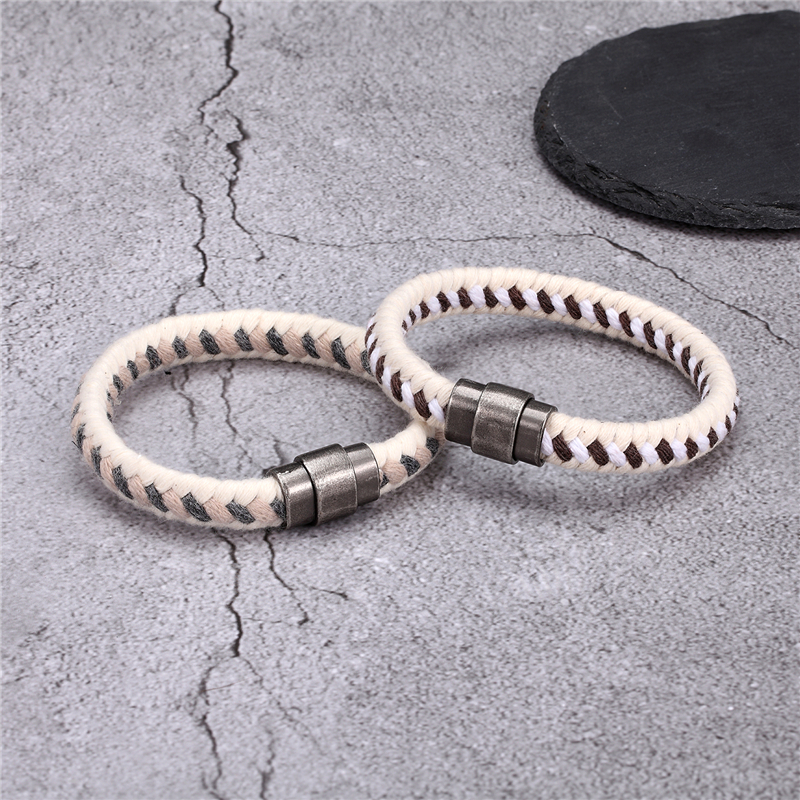 MKENDN Vintage Charm Cotton Rope Wrap Woven Men Bracelets Women Magnetic clasp Wristbands Bracelet Handmade Jewelry