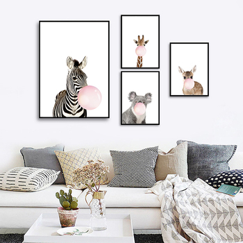 Bubble Gum Giraffe Zebra Animal Posters Artistic Canvas Painting Wall Art For Nursery Decorative Picture Nordic Style Kids Decor image