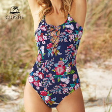 CUPSHE Midnight Rainbow Floral One Piece ชุดว่ายน้ำเซ็กซี่ผู้หญิง Backless Monokini Beachwear 2020 ผู้หญิงชุดว่ายน้ำชายหาดชุดว่ายน้ำ