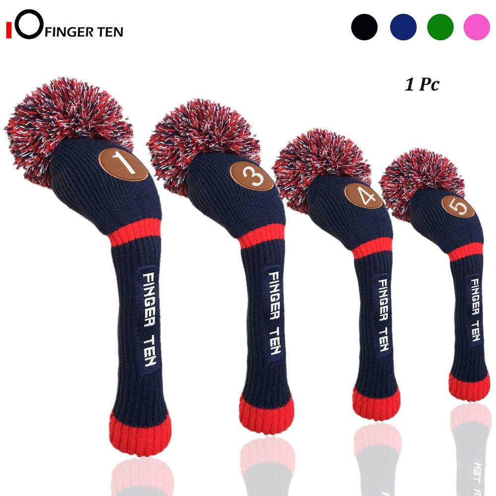 Pom Pom Knitted Golf Club Head Covers Woods Driver Fairway Hybrid Head Cover 1 3 4 5 For Men Women Kids Sold In Separate