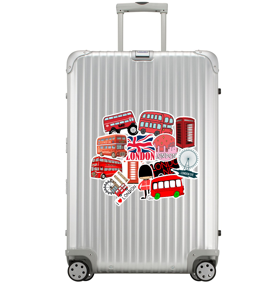 50pcs/Pack Waterproof PVC Cartoon Red London Bus Stickers Skateboard Travel Suitcase Bicycle Motorcycle Guita Sticker Kids Toys