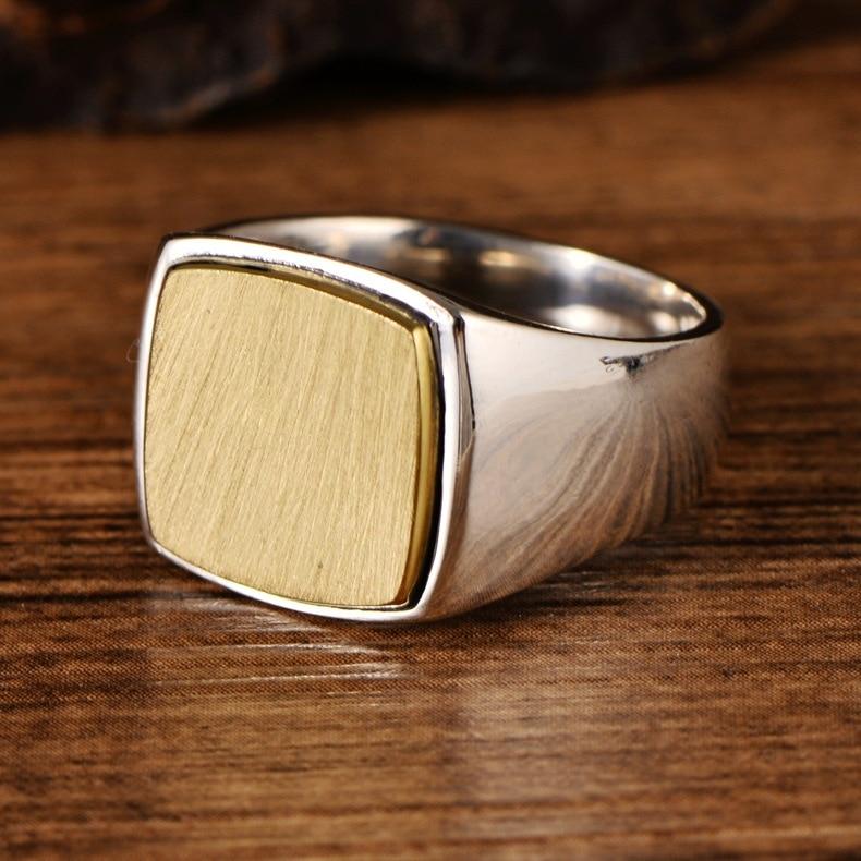 Véritable solide 925 argent Sterling hommes Signet OM anneaux Simple lisse conception Mantra bouddhiste bijoux - 2