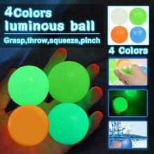 4 sztuk przyklejana na ścianę piłka świecące Globbles Squash Luminous przyklejony cel piłki dekompresji rzut zabawka spinner dzieci prezent Stress Relief