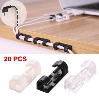 5 20 sztuk Organizer do kabli do zarządzania kablami pulpit i stację roboczą uchwyt na przewód ABS menedżer przewodów USB do ładowania linia danych nawijarka tanie i dobre opinie CN (pochodzenie) Z tworzywa sztucznego Cable Management 3cm x 1 1cm x 1cm Cable Organizer