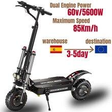 Электрический скутер 60V5600W, 11 дюймов, складной высокоскоростной двухколесный, водонепроницаемый, для взрослых