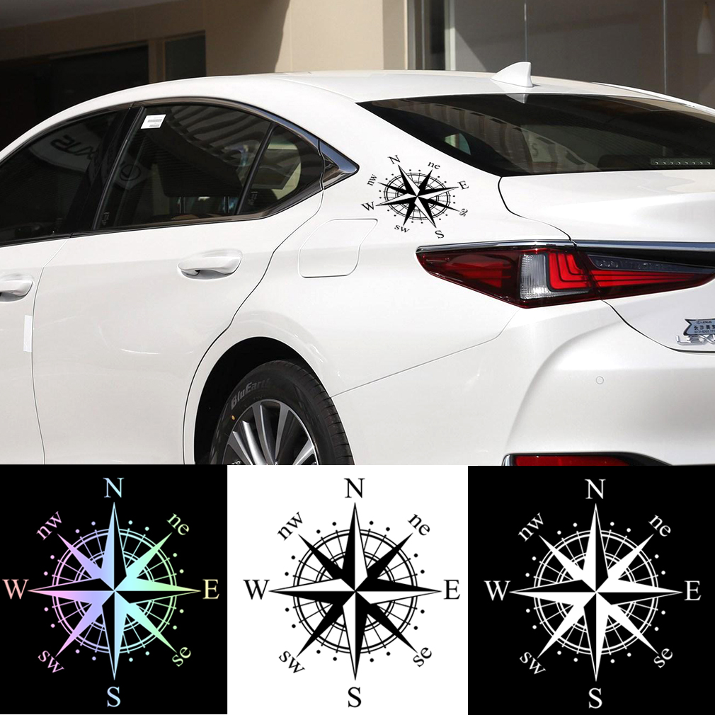 1pcs Universal Car Sticker Compass Rose Vinyl Decal Reflective Motorcycle Decoration Decal Sticker Black White Laser