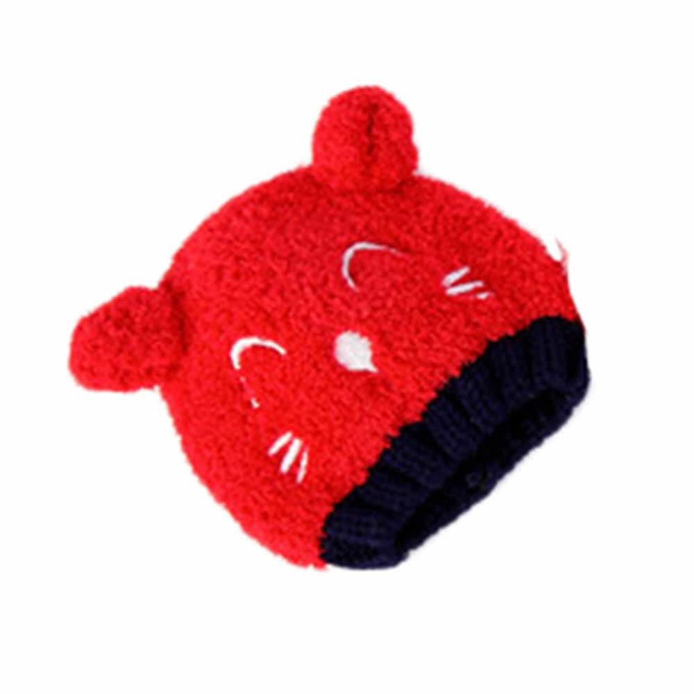 หมวกเด็กเด็กวัยหัดเดินเด็กอบอุ่นฤดูหนาวขนสัตว์หนาการ์ตูนน่ารักหมวกถักหมวกขนสัตว์ Pom Pom Bobble หมวกเด็กหญิง casual เด็กหมวก