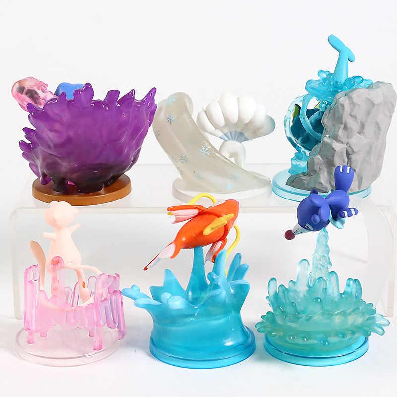 モンスターセンターギャラリーミュウ Vulpix Popplio Groagunk Magikarp Vaoreon PVC フィギュアおもちゃ 6 ピース/セット