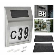 Numer domu DIY energia słoneczna Doorplat znak LED drzwi domowe tablica adresowa numer cyfra