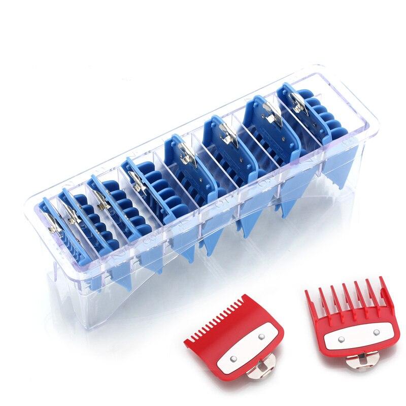 8 tamanhos guia pente conjuntos com uma caixa extra de 1.5/4.5mm kit ferramenta de corte máquina de cortar cabelo clipper limitado pentes com metal