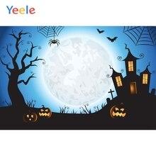 Yeele Photophone Halloween Backdrop Pumpkin Lantern Spider Web Moon Bat Castle Vinyl Photography Background For Photo Studio