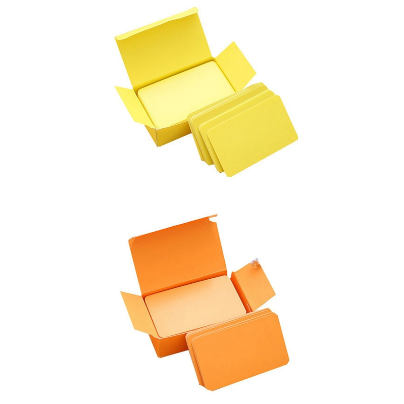 200 Pcs Cards Blank DIY Graffiti Word Cards Net Small Memo Pad Blocks Memorandum Note Blank Word Cards - 100 Pcs Orange & 100 Pc