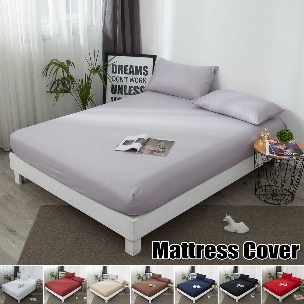 Comfortable Mattress Protector Elastic Solid Breathable Soft Cotton Terry Mattress Cover Comfy Bed Home Decor Pillow Case D30