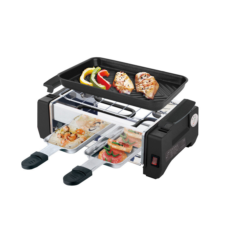 1000W Non-stick Indoor Electric Barbecue Machine Korean Grill Smokeless Grill Raclette Pan Electric Griddle 220V