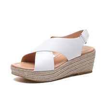 Women's Summer Espadrille High Heel Sandals Casual Leisure Open Toe Platform Sandals PU Leather Wedges Sandals 14cm high heel sandals female platform open toe cool boots wedges