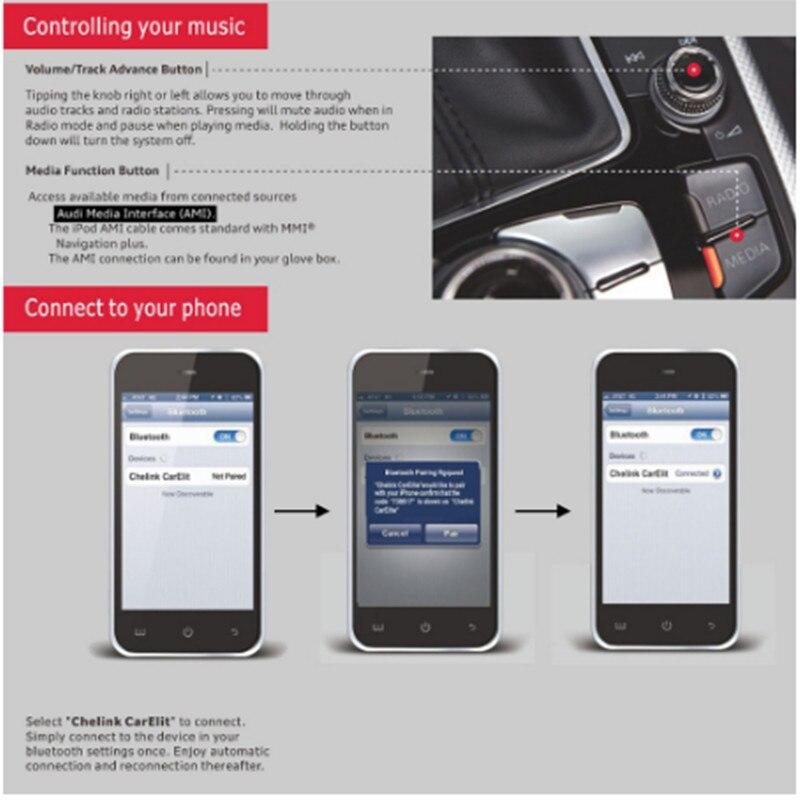 Le plus récent!! CHELINK voiture Kit musique Audio Bluetooth récepteur sans fil pour Audi et Benz adapté iPhone X 8 8plus 7 iPad et Android - 6